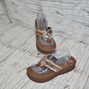 NWOT Size 9 Justin Ladie's Wedge Bling Sandals